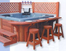 Cool idea for the hot tub.  I don't know about food near the hot tub, but a place to put your beer/wine sounds good!