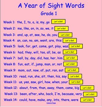 This resource contains first grade sight words for an entire year. Seven new words are introduced each week. There are links to flashcards and 5 ga...