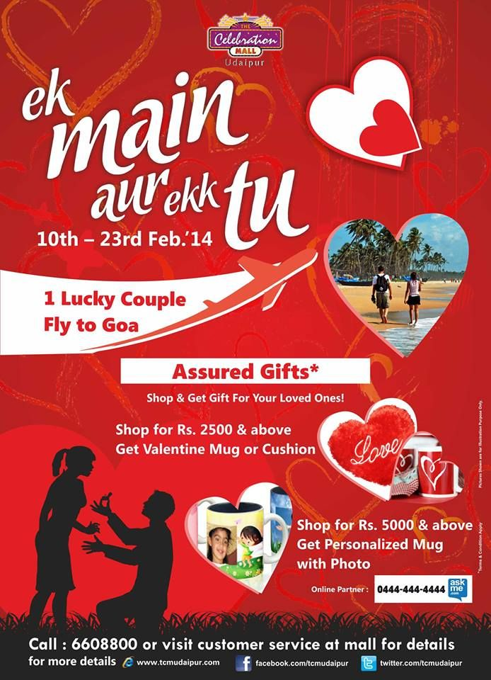 Valentines Cant get better than this at The Celebrations Mall Udaipur  http://www.getitmalls.com/Pages/Event-Details.aspx?EventId=307