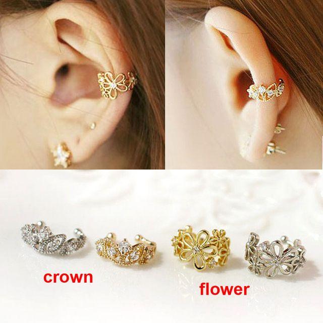 2014 мода уха манжеты золото серебро вырез цветок корона кристалл не пронзили клип серьги уха манжеты для женщин boucles bijoux