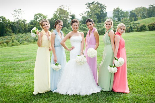 Adore this idea for different colored bridesmaid dresses! {Lisa Boggs Photography}