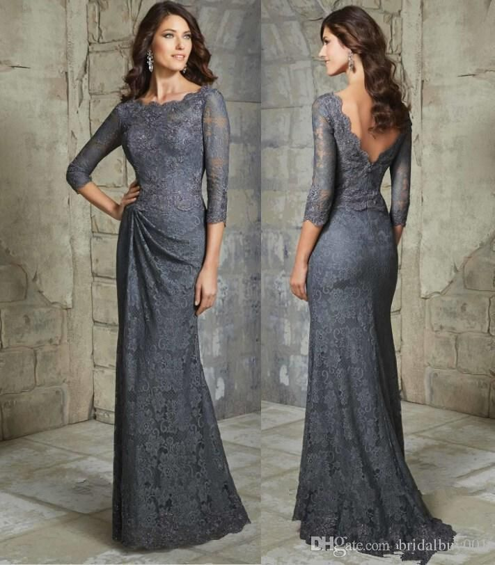 Sexy Mother Dresses Lace Appliques 3/4 Long Sleeves Gray Backless Evening Gowns For Women Column Sheath Mother Of Bride Dress Open Back Plus Size Mother Of Groom Dresses Purple Mother Of The Bride Dress From Bridalbuy001, $92.34| DHgate.Com