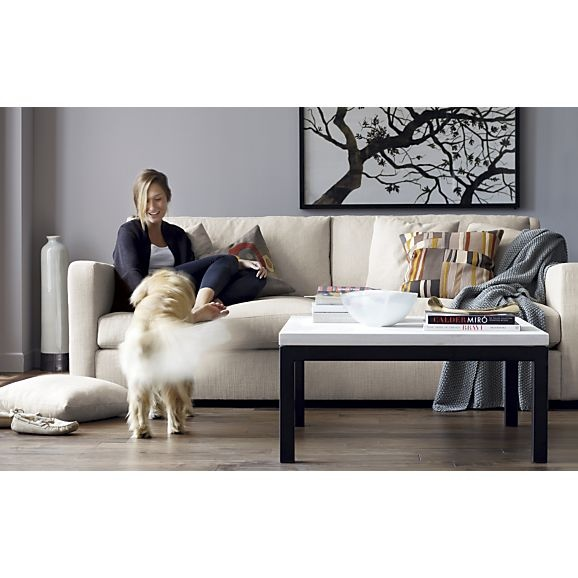 Shop Parsons Square Coffee Table With Travertine Top More Than Meets The Eye The Crate And Barrel Parsons Coffee Table Is Constructed Of Hot Rolled Steel