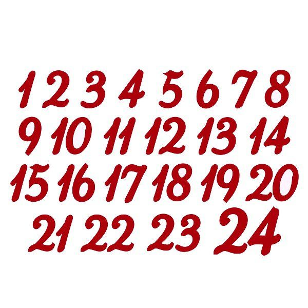 Sametový nažehlovací potisk - adventní čísla > varianta červená tmavá