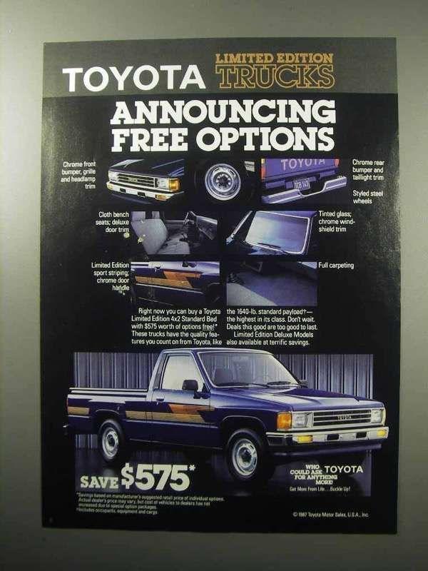 1987 Toyota Pickup Limited Edition Pickup Trucks Trucks Pickup Truck Accessories