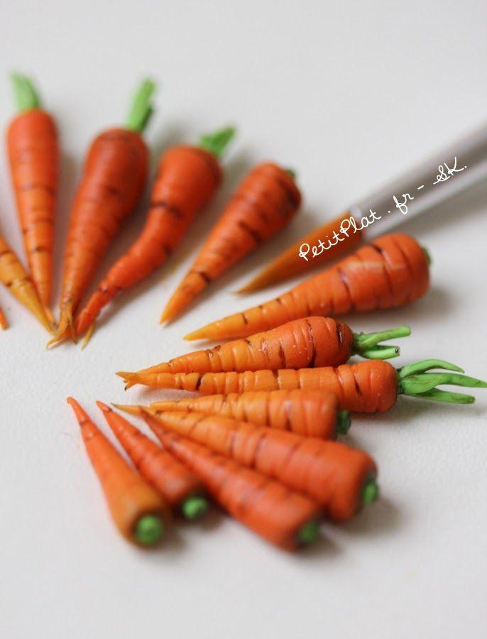 Miniature Carrots, Polymer Clay Sculpture by Stephanie Kilgast