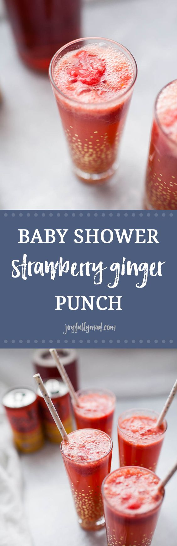 Looking for the perfect, easy drink recipe to serve at a baby shower or brunch? This no sugar added, strawberry ginger punch is perfect for showers, parties, or just for a fun non-alcoholic drink for anytime! It's made with stevia-sweetened ginger beer, homemade strawberry sorbet and a splash of cranberry juice. This punch is flavorful and just sweet enough, without any artificial or added sugars!  via @joyfullymad #ad @zevia
