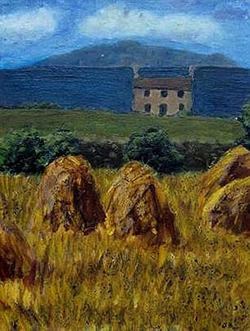 Irish landscape with cottage Oil painting by Maria Meester Not available