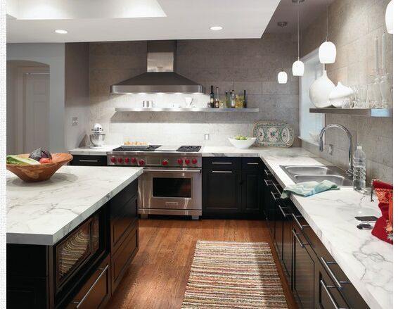 Calacatta Marble Formica Countertops With Hardwood Floors And Black  Cabinets!