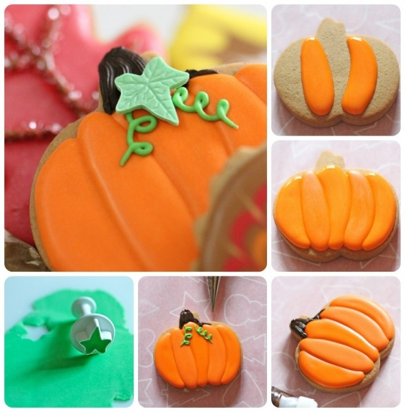 how to make a pumpkin cookie decorated