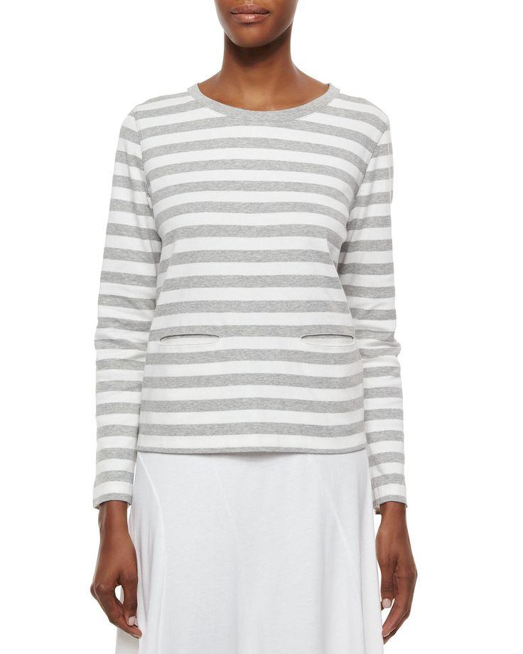 Long-Sleeve Striped Top, Petite, Size: 1P (6/8P), Black/White - Joan Vass