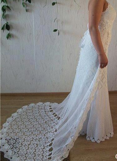 Vestido de noiva e calda em crochê  lovely crocheted wedding dress