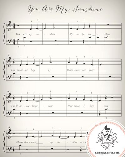 Sheet Music Printable Sheet Music And Hands On Pinterest: You Are My Sunshine Sheet Music