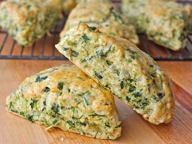 Spinach Artichoke Scones...savory scone recipe that's loaded with spinach, artichokes and cheese. They taste just like a fresh chunk of bread that's been dipped in some cheesy spinach artichoke dip.