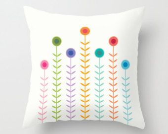 Minimalist Multicoloured Flowers pillow cover, pillow case, Home decor, Cushion cover, Decorative pillow cover, abstract flower pattern