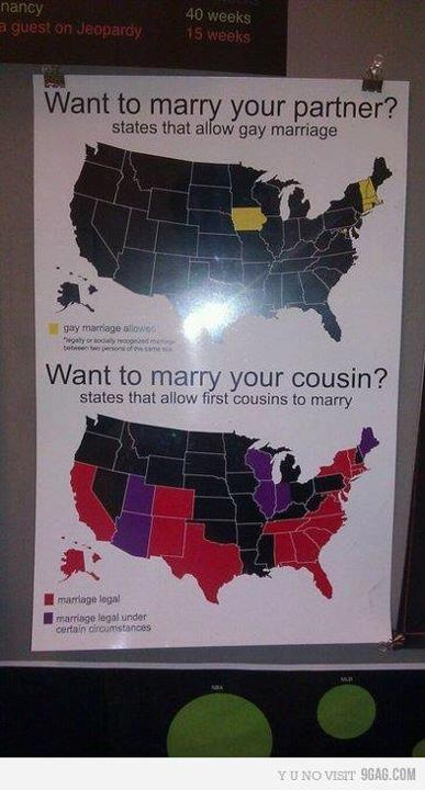 At least in Arkansas it's not legal for you to marry your cousins. Take that all my Texan friends!