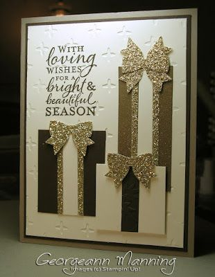 Embellished Ornaments, Holly Berry Builder Punch, Gold Glimmer Paper, Sparkle Textured Impressions Embossing Folder, Christmas Card, Stampin' Up, Handmade