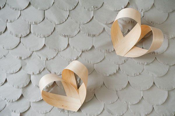DIY Fringed Scalloped Backdrop & Balsa Wood Veneer Hearts - Marissa