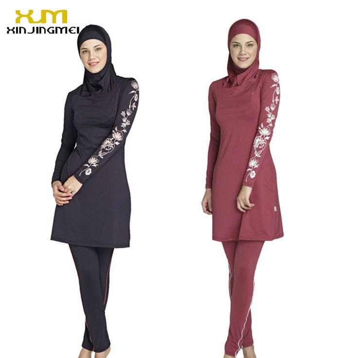New muslim swimsuit black and red sunscreen islamic ladies' swimwear modest swimwear with flower printed muslim swimming clothes Quran *** AliExpress Affiliate's Pin.  Find similar products on AliExpress website by clicking the image