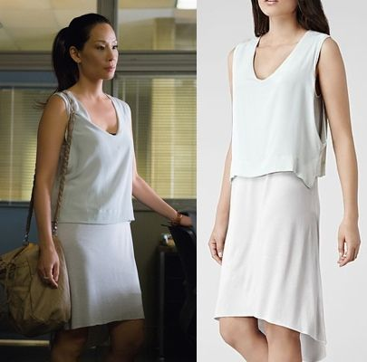 "Elementary Season 3, Episode 2 ""five pipz"" fashion: Click to find out where Joan Watson (Lucy Liu) got her double layer white dress #elementary #lucyliu #joanwatson"