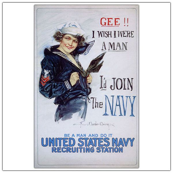 US Navy Woman by Howard Christy-Framed 24x32 Canvas Art