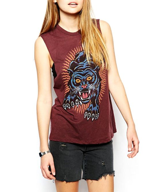 BF Style Tiger Print Sleeveless Brown T-shirt