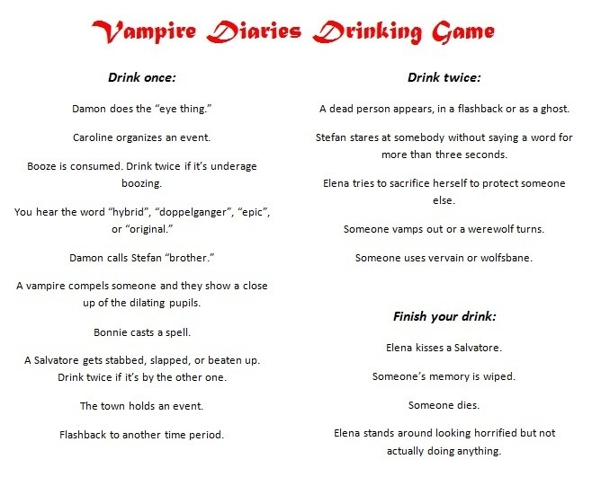 "The Vampire Diaries - Drinking Game. ""Every time Elena tries to sacrifice herself"" we're gonna drink so much! lol"
