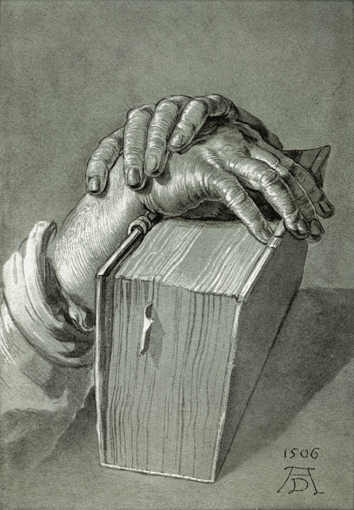 "books0977: "" Hand Study with Bible (1506). Albrecht Dürer (German, 1471–1528). Drawing. Staatliche Graphische Sammlung, München. Dürer developed a new interest in the human form, as demonstrated by..."
