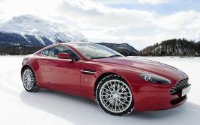 Астон Мартин, Вантаж, суперкар, передок, красный, снег, горы, небо, Aston Martin