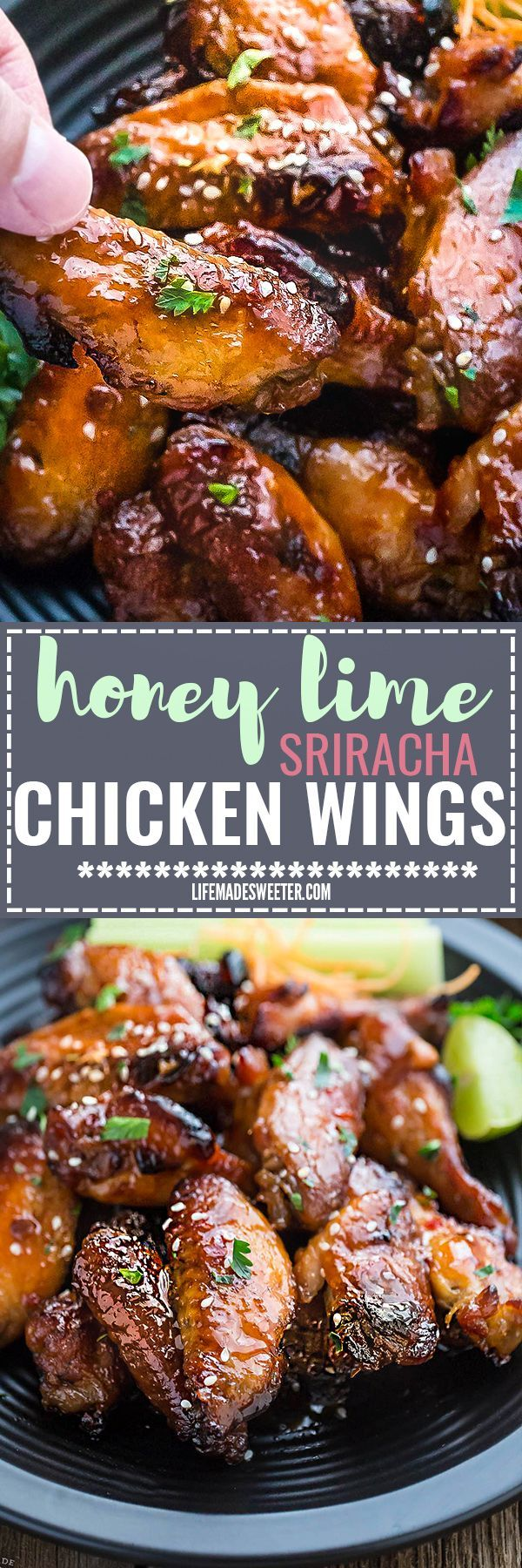 Slow Cooker or Oven Baked Honey Lime Sriracha Chicken Wings makes the perfect appetizers for game day. Best of all, they're so easy to make with a flavorful and delicious Asian inspired sticky sauce.