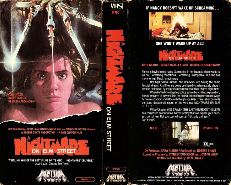 A real blast from the past... The VHS cover for, 'A Nightmare On Elm Street' from the 1980s!