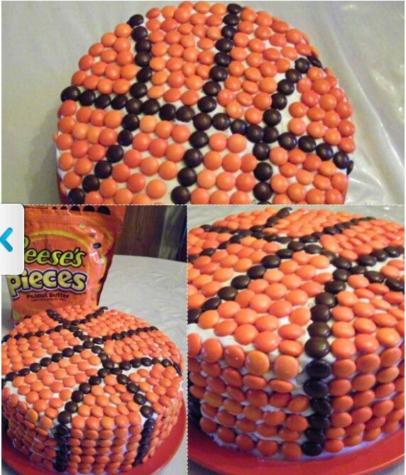 Basketball cake from Reeses Pieces