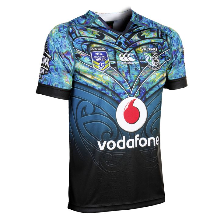 Front view of the #Tangaroa jersey. The design pays homage to Tangaroa, the #Maori god of the #ocean #Merchandise #WarriorsForever #NRL #AucklandNines #Jerseys #Paua #NewZealand