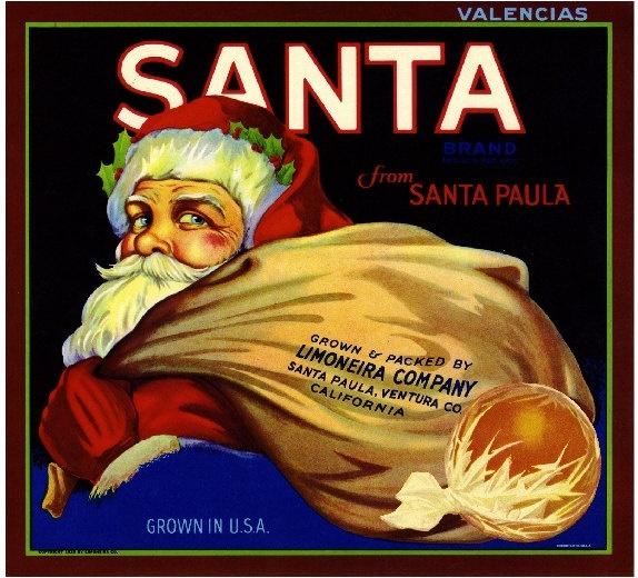 Santa Paula Ventura County Santa Claus Christmas Orange Citrus Fruit Crate Label Art Print. $9.99, via Etsy.