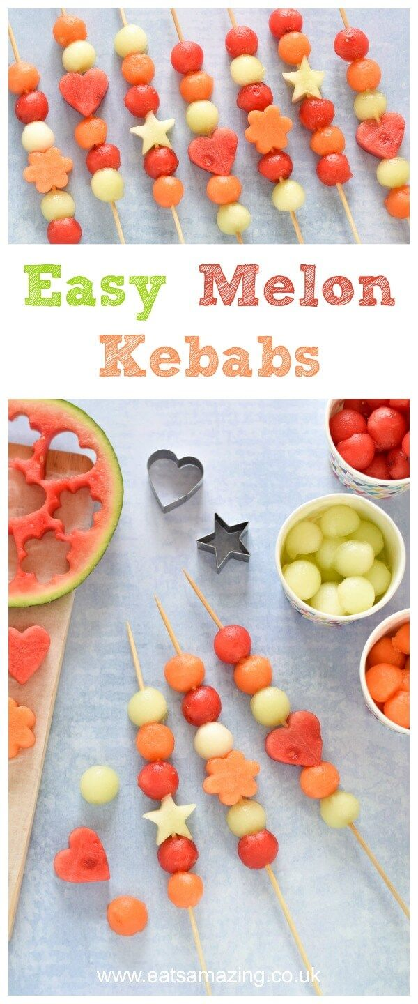 Easy Melon Fruit Kebabs for Kids Recipe - a great healthy party food idea for summer parties, BBQs and fun snacks that kids can make themselves.