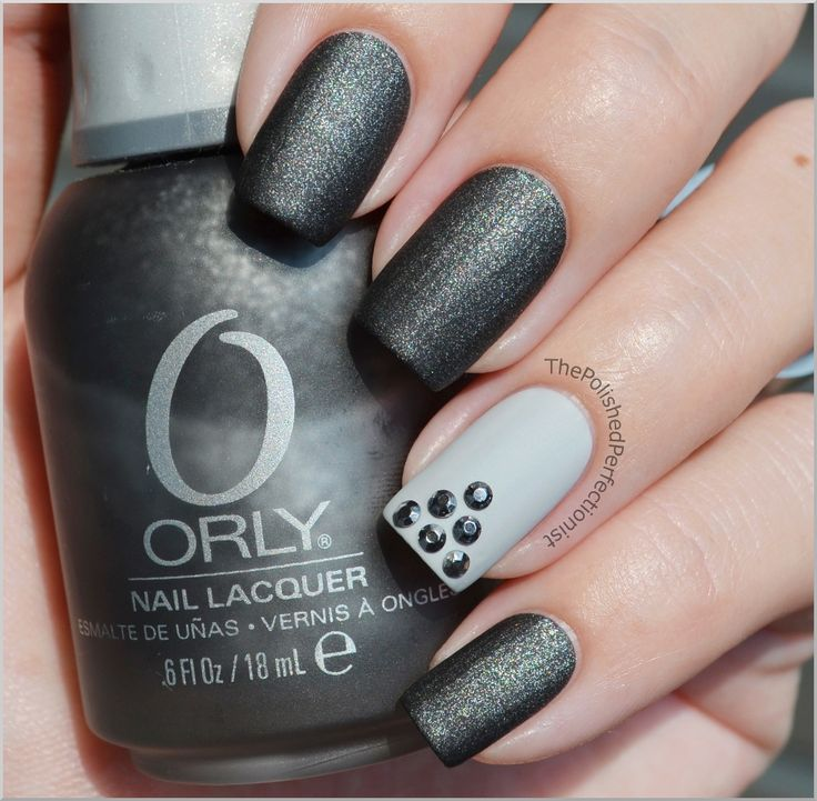 Orly Iron Butterfly + Essence Got a Secret + stud rhinestones from The Polished Perfectionist