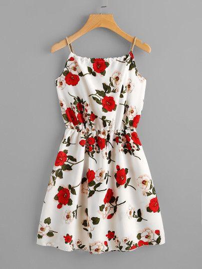 Cami Kleid mit Blumen Muster und Selbstbindung- Ge…