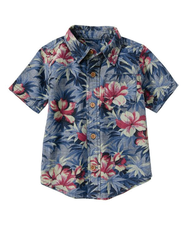 Look at this Blue Floral Chambray Button-Up - Infant, Toddler & Boys on #zulily today!