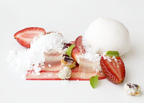 Pistachio Plated Dessert   Strawberry, rhubarb, lychee and gingerbeer) Looks refreshing.