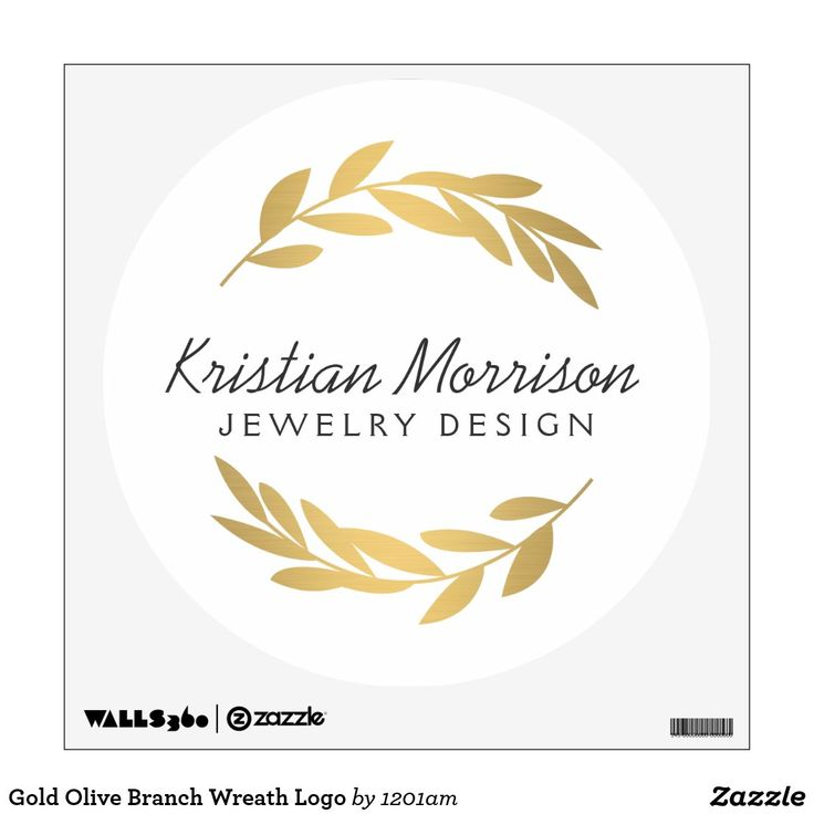 Gold Olive Branch Wreath Logo Wall Decal Zazzle Com Olive Branch Olive Branch Wreath Gold Olive Branch