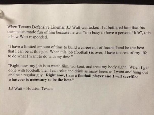 J.J. Watt Explains Why He Doesn't Have a Girlfriend in Awesome Letter - Love this.