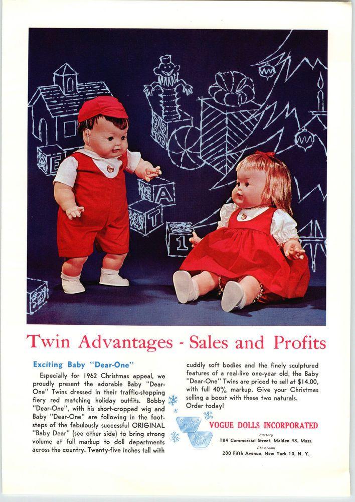 1962 PAPER AD 2 Sided Vogue Dolls Bobby Dear One Baby Dear