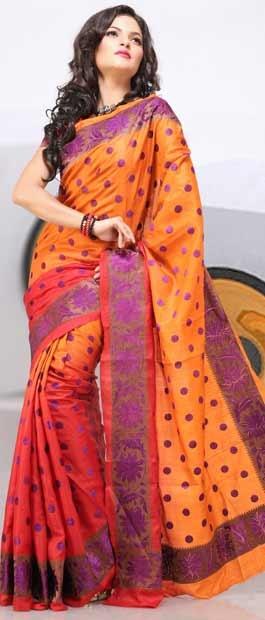 Orange Tussar Silk Saree with Blouse    Itemcode: SGR409    Price: US $208.26    Click @ http://www.utsavfashion.com/store/sarees-large.aspx?icode=sgr409