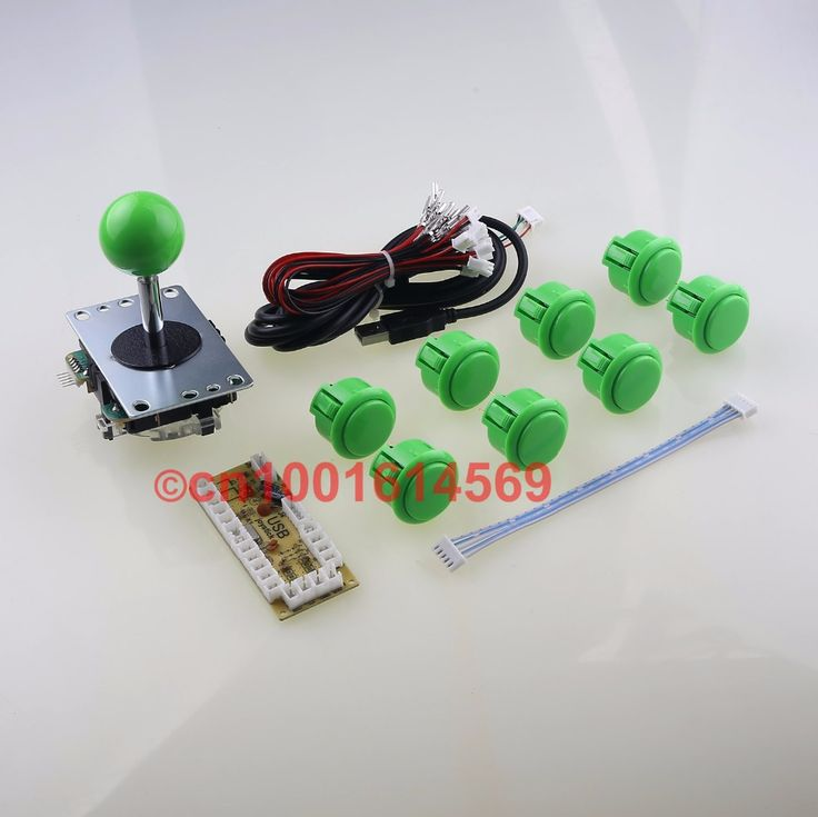 Free Shipping ! Japan Sanwa Buttons Wire Harness + Sanwa 8 Way Joystick + USB Circuit Board Encoder For PacMan Game DIY - Green