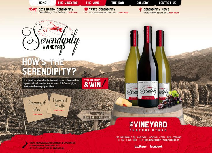 It is the affirmation of optimism and comes to those with an open mind and an adventurous heart. Web design & development for Serendipity Vineyard, Central Otago, New Zealand. http://www.serendipityvineyard.co.nz/