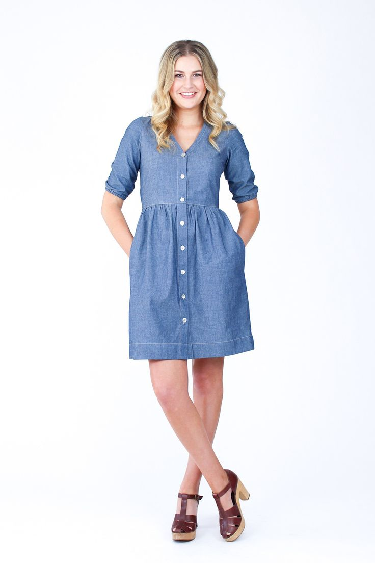 Darling Ranges dress sewing pattern by Megan Nielsen // Easily adaptable modern shirt dress. Pattern features deep v-neck, button front, high waistline, multiple sleeve lengths, large pockets and ties at the back to allow it to be worn in a fitted or loose style. Version 1 includes waist darts and a gathered skirt. Version 2 is a dartless blouse, and Version 3 is a dartless dress or tunic.