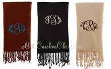 "Shop our pashmina scarves for year around accessorizing! Our 28"" x 72"" pashmina scarfs are great to have around indoors and out! Choose from black, brown or beige for a neutral accessory that matches everything. A monogrammed scarf is a great personalized clothing gift for women of all ages"