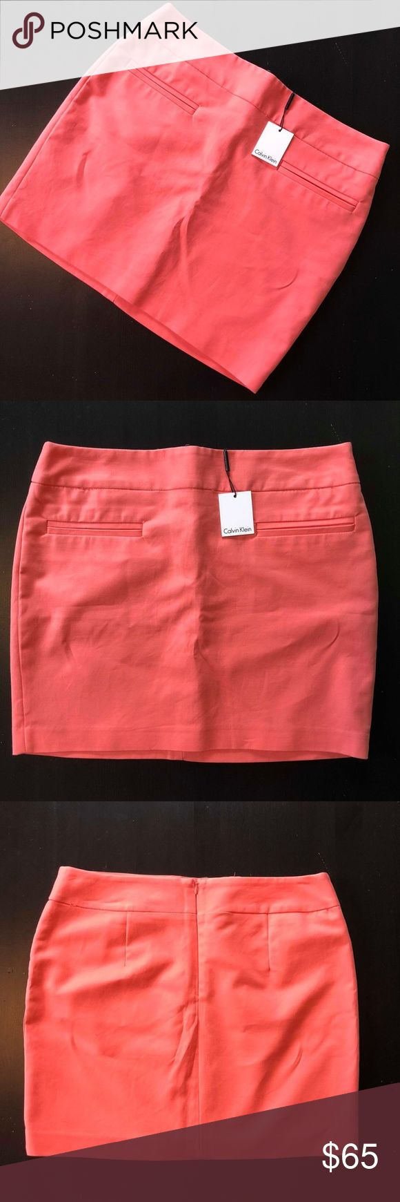 """{Calvin Klein} salmon pink mini skirt NWT •Calvin Klein salmon pink mini skirt NWT •Condition: Excellent, NWT •Size: 10 •Measurements: Waist: 17.5"""" Length: 16""""   This skirt is a beautiful salmon color, great to pair with a cardigan for spring or tights for winter! Calvin Klein Skirts Mini"""