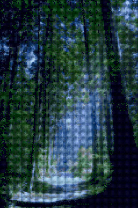 Blue Forest Vancouver B.C. landscape Cross stitch pattern PDF