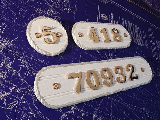 Brass House Number Plaque - Home Address Number Plate - Condo / Boat Slip Sign - Cottage Style Nautical Beach Residence Decor - Rope Edge